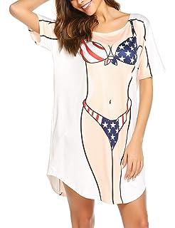 ecbcd910d3 Ekouaer Women's Bikini Shirt Cover Up Short Sleeve Cute Bikini Print Cover- Up Baggy T