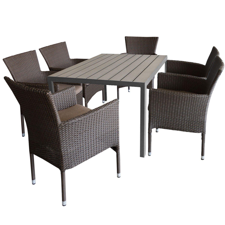7tlg. Gartengarnitur Aluminium Gartentisch 150x90cm mit Polywood Tischplatte Grau stapelbare Polyrattan Gartensessel braun-meliert inkl. Sitzkissen
