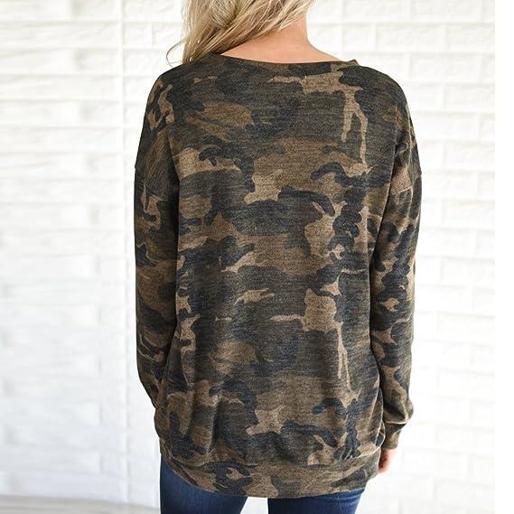 Mujer y Niña otoño fashion,Sonnena ❤ Camuflaje de mujer impreso Camisa de manga larga suelta cómoda Camisa de cuello redondo Blusa Top Camisa de fiestas ...