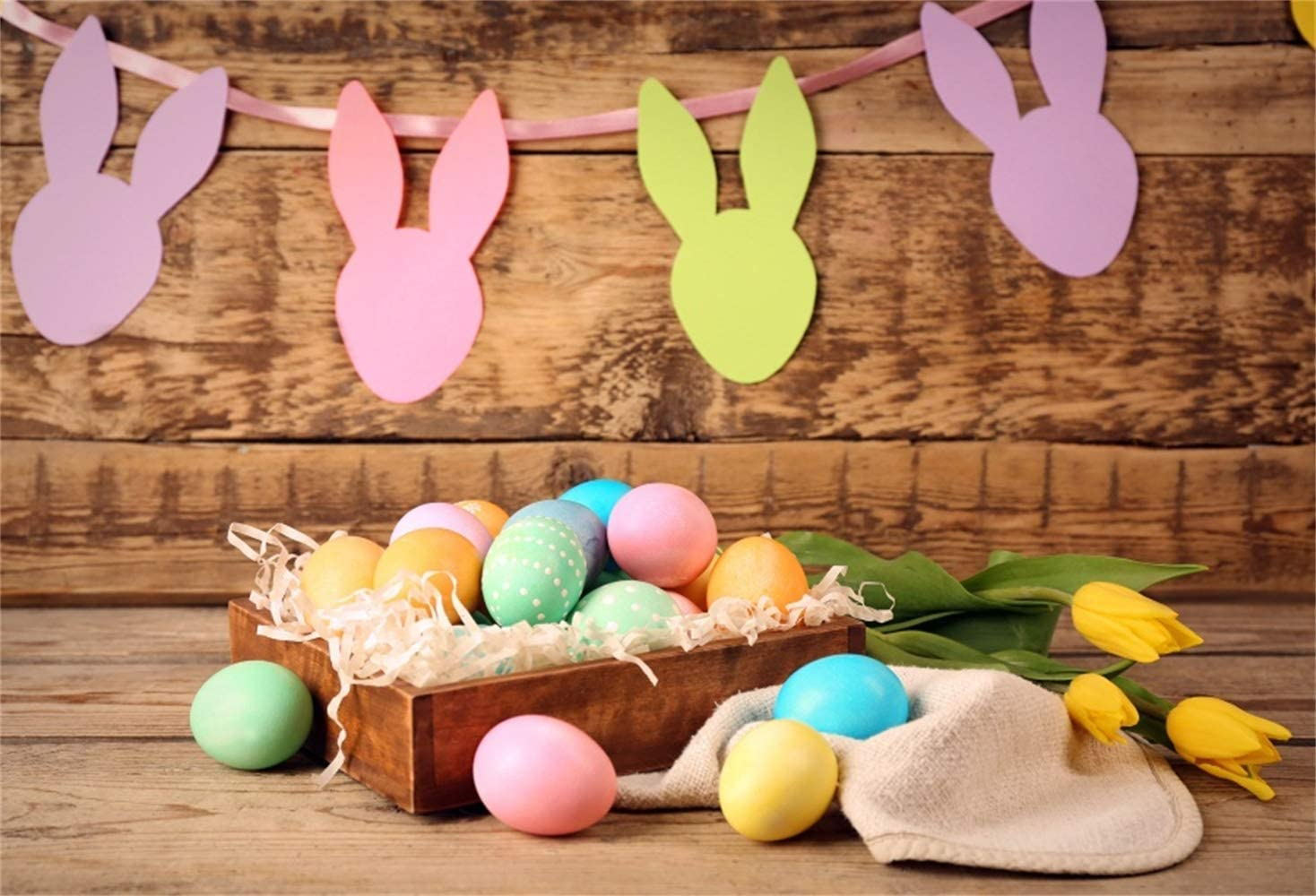 8x6.5ft Easter Theme Backdrop Polyester Colorful Rabbit Paper-Cut Decors Wooden Box Easter Eggs Yellow Tulips Retro Wooden Wall Background Child Baby Adult Shoot Easter Egg Hunt Activities Video