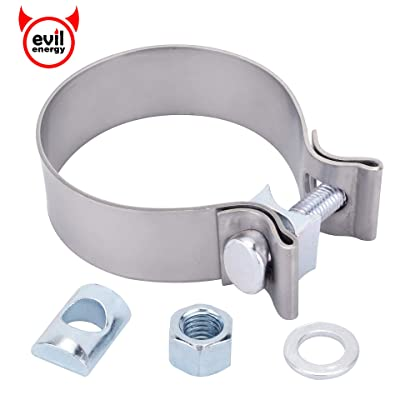 "EVIL ENERGY 2.5 2 1/2"" Exhaust Band Seal Clamp Muffler Pipes Connect Stainless Steel: Automotive"