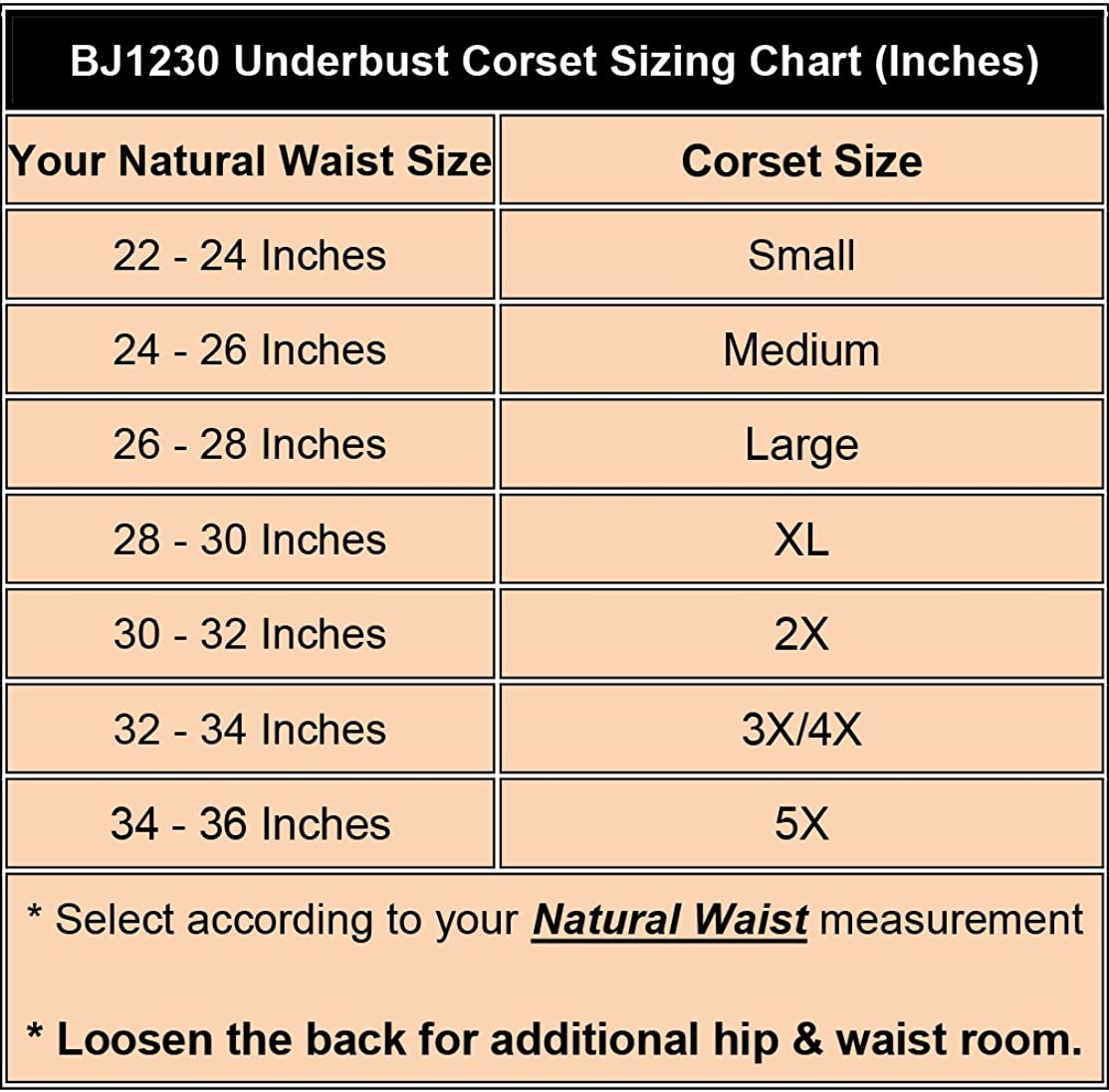 BJ1230 Corsets Womens Black Faux Silk Steel Boned Underbust Corset w// Straps 3XL Black