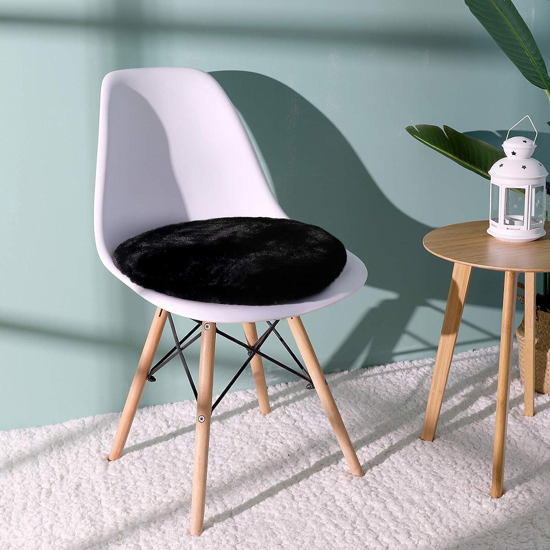 Shinnwa Black Round Dorm Fur Chair Cushion Pad with Furry Faux Fur Cover Small Mini Cute Seat Cushion for Kids Desk Chair Teen Girls Bedroom Décor 16 Inch