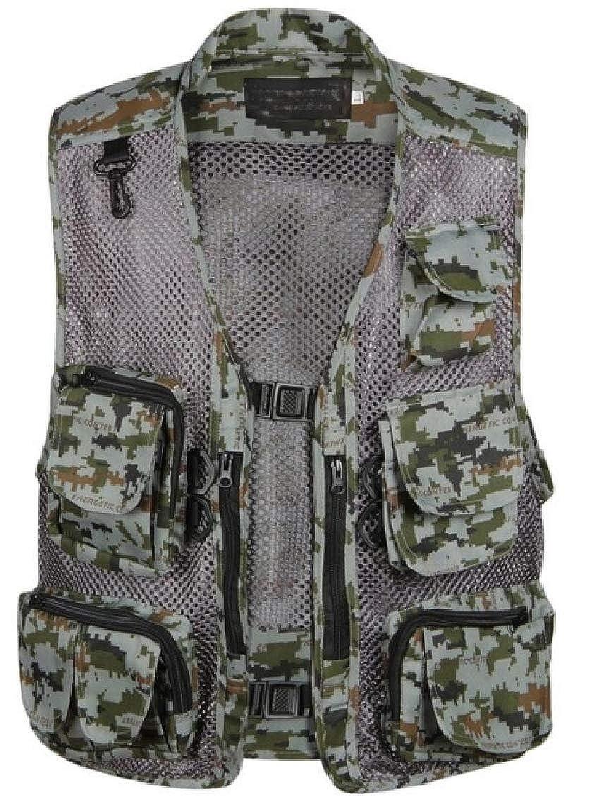Spirio Mens V Neck Casual Outdoor Multi Pockets Zip-Up Cotton Solid Slim Fit Vest
