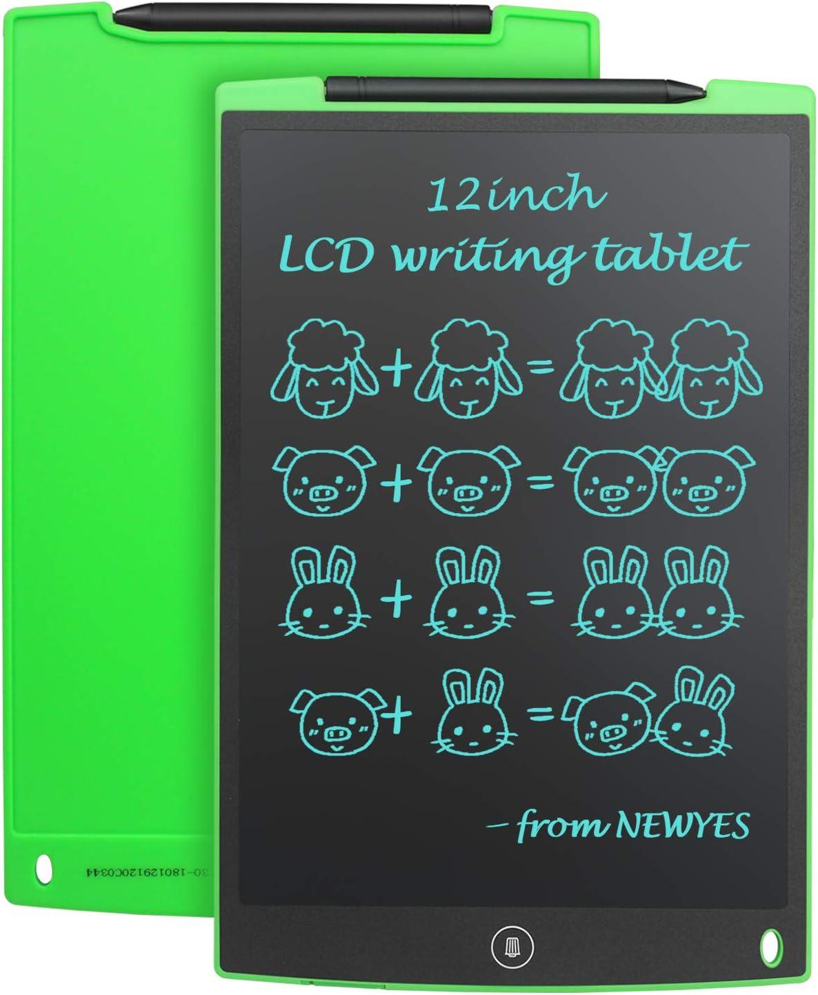 """NEWYES 12"""" Tableta de Escritura LCD, Tableta gráfica, Ideal para hogar, Escuela u Oficina. Pilas Incluidas y 2 Imanes para la Nevera (Verde)"""