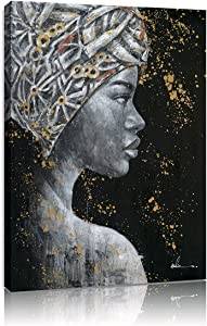 B BLINGBLING Black Women in Headwrap Canvas Wall Art Prints, African American Woman Painting Black and Gold Pictures for Girls Bedroom Bathroom Decor Framed Ready to Hang 12