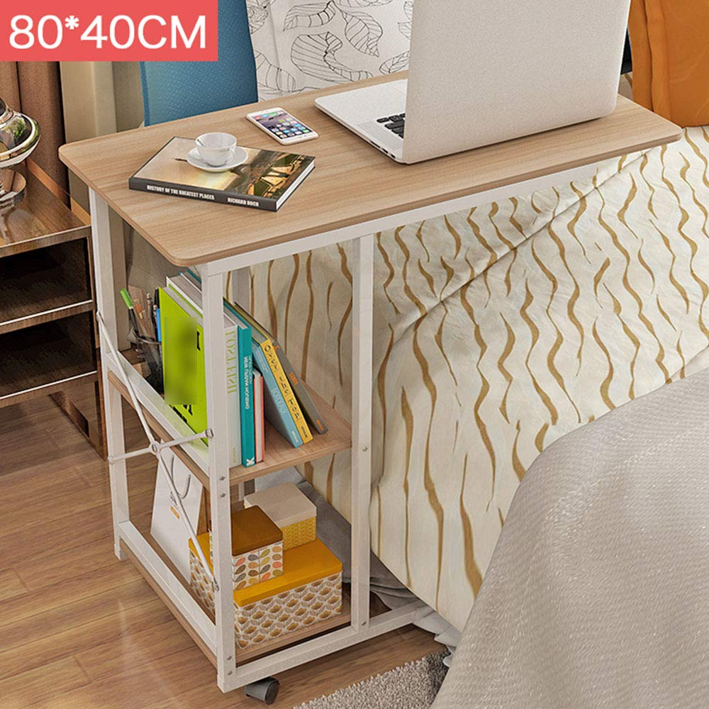 E GWDJ Side Table, Solid Wood Movable Multifunction Side Table Lazy Bedside Simple Computer Table Living Room Space-Saving Practical Storage Small Desk Corner Table (color   E)