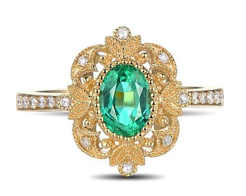 Epinki 18k Oro Anillos para Mujer Hoja Cuadrado Anillo de Diamante Anillos Mujer Oro con Blanco
