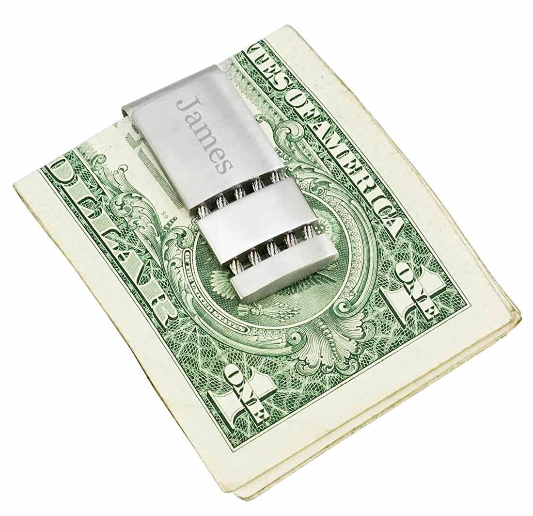 Personalized Visol Perseus Satin and Polished Stainless Steel Engravable Money Clip