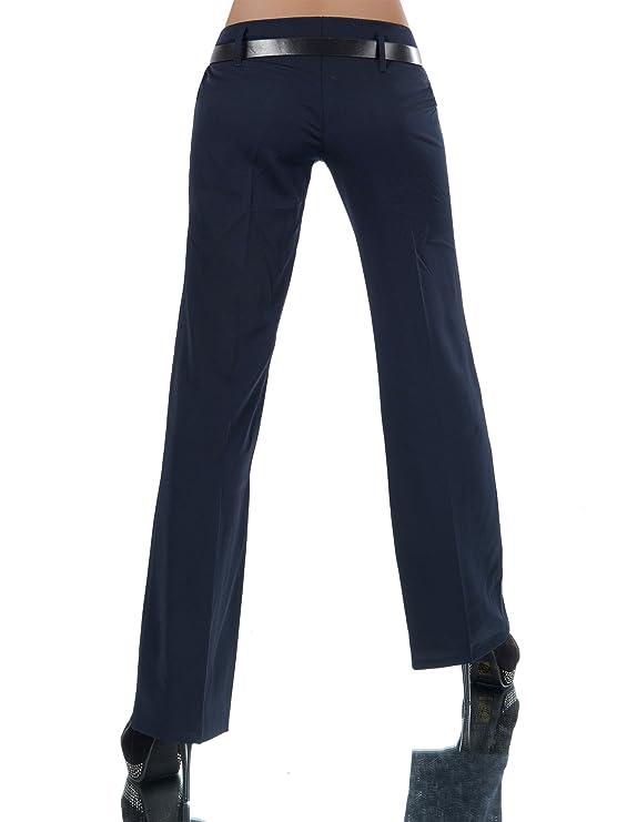 d038838384 L293 Damen Business Stoffhose Elegante Bootcut Hose Classic Schlaghose +  Gürtel, Farben:Dunkelblau;Größen:44 XXL (Etikett T6): Amazon.de: Bekleidung