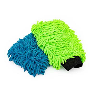 The Rag Company (2-Pack Premium Soft Microfiber Chenille Knobby Scratch-Free, LINT-Free Wash Mitts, One Royal Blue and One Lime Green: Automotive