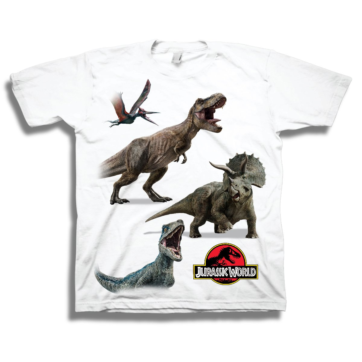 Jurassic Toddler World Dinosaur Shirt Park Tee Featuring T-Rex, Velociraptor, and Other Dinosaurs World White T-Rex Shirt (4T)