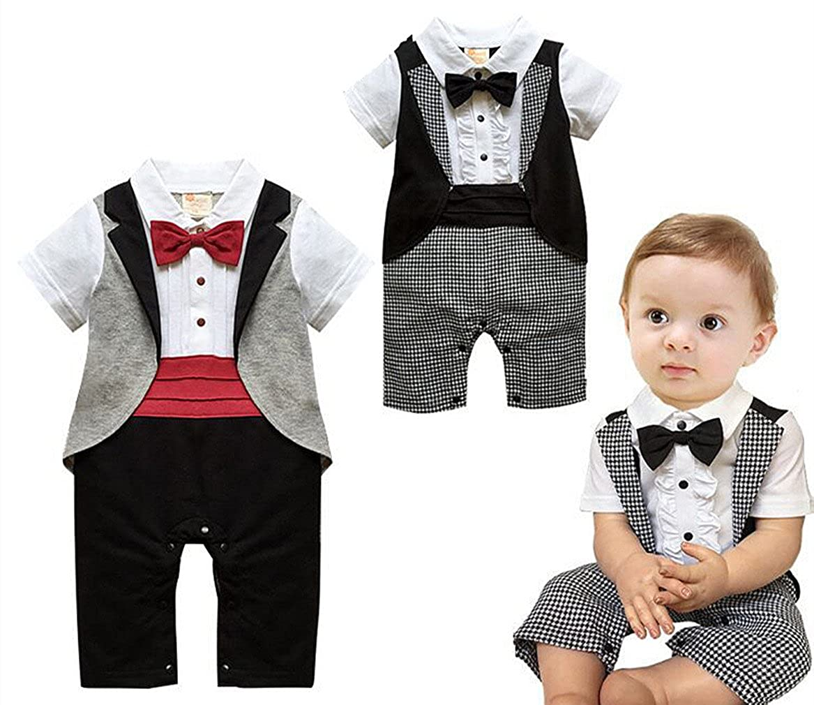 66a9c6476 Baby Boys Tuxedo Gentleman Onesie Romper Jumpsuit Formal Suit Cotton  material , soft for baby skin. Style : Long sleeve , gentleman outfit ,  onesie romper ...