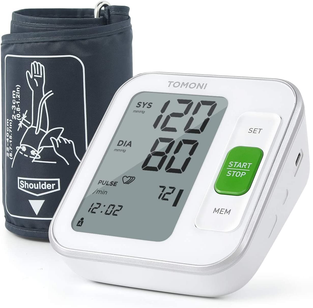 Blood Pressure Cuffs for Home Use - tomoni Blood Pressure Monitor Upper Arm Automatic Blood Pressure Machine, Adjustable Cuff 8.7