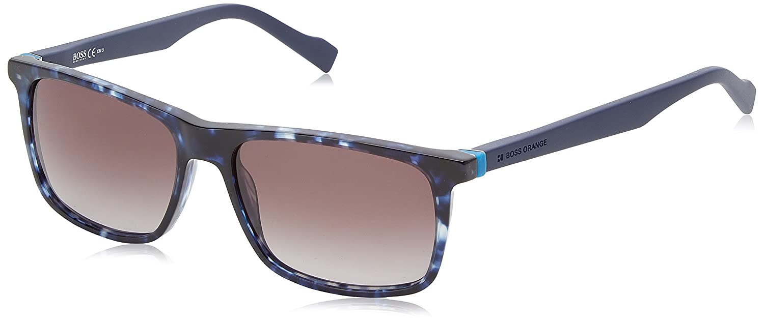 41b2df785ff Amazon.com  Boss Orange BO 0253 S Q8GBQ (Matt Blue - Blue print with Black  lenses)  Clothing