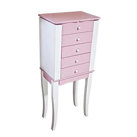Amazoncom Mele Co Louisa Girls Wooden Jewelry Armoire Pink
