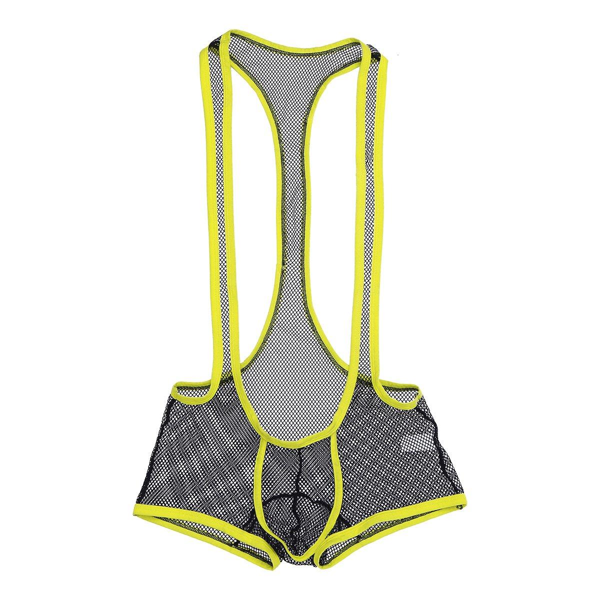 iEFiEL Mens One-Piece Fishnet Mesh See-Through Wrestling Singlet Bodysuit Underwear Black L