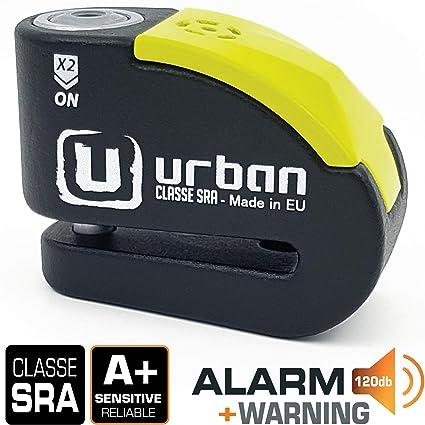 Urban Security UR10 Candado Antirrobo Moto Disco Alarma 120db, Avisador, A+, Doble Cierre ø10, homologado Sra, Negro/Amarillo, 10 mm diámetro