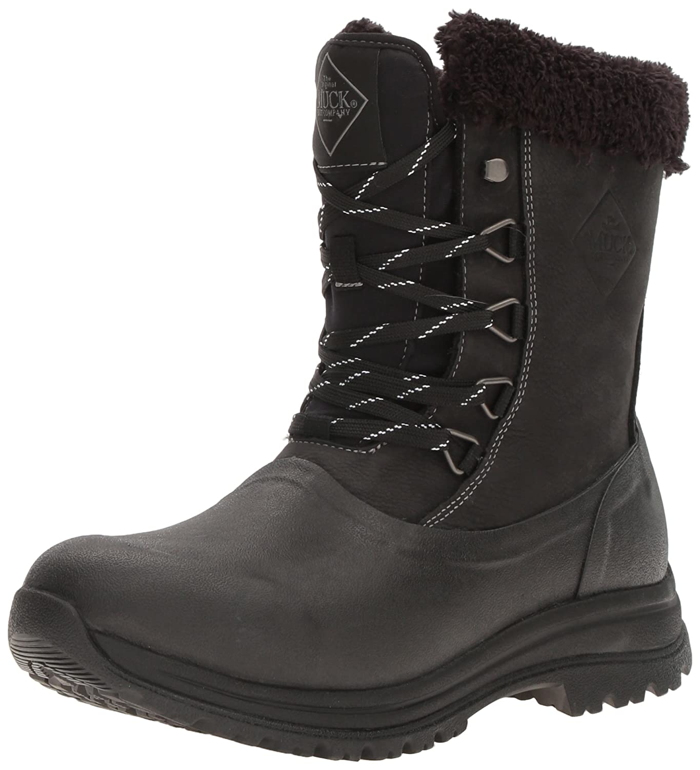 Muck Arctic Après Mid-Height Lace-up Rubber Women's Winter Boots B01GK9485C 6 B(M) US|Black/Charcoal