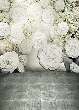 5 x 7 ft 3 d pure white flowers photography background amazon 5 x 7 ft 3 d pure white flowers photography background ronmantic wedding soft floral scenic mightylinksfo