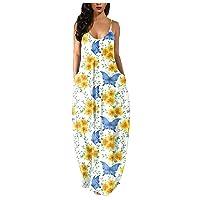 Women Dress Fashion Women's Loose Casual Summer Butterfly Print Pocket Sling Sleeveless Dress Skirt Long Dress
