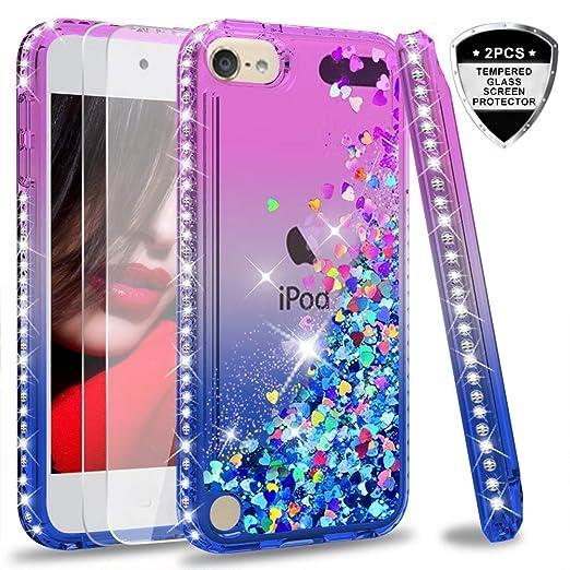 LeYi Hülle iPod Touch 6 / iPod Touch 5 Glitzer Handyhülle mit Panzerglas Schutzfolie(2 Stück),Cover Diamond Bumper Schutzhüll