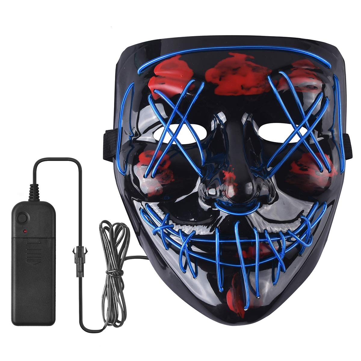 Halloween Mask Scary LED Light Up Mask for Halloween Festival Party (Blue) by BUSAODISA