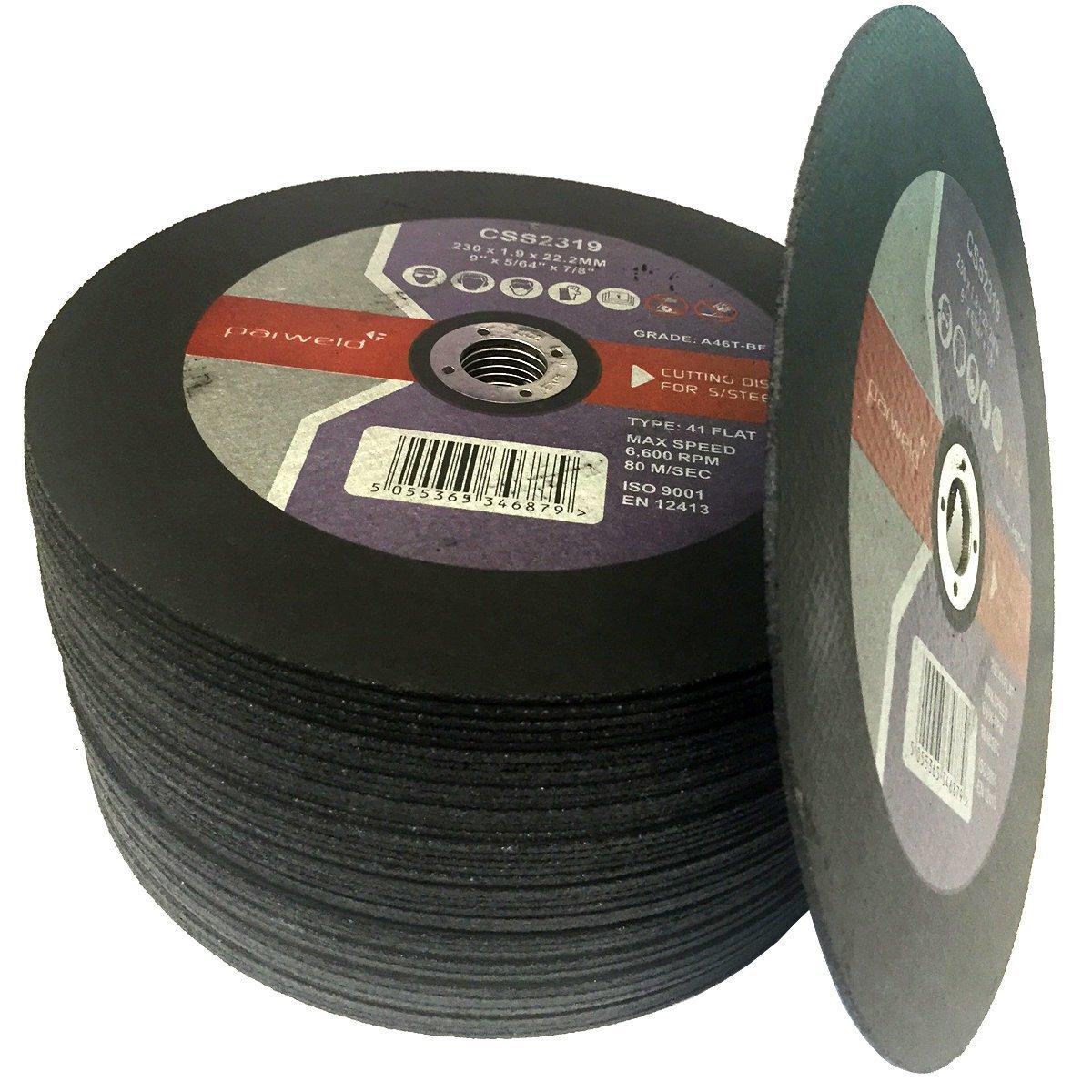 parweld /fendre Disques 22,9/cm 230/mm x 1,9/mm Fin en acier inoxydable de coupe disques M/étal/ Pack de 25