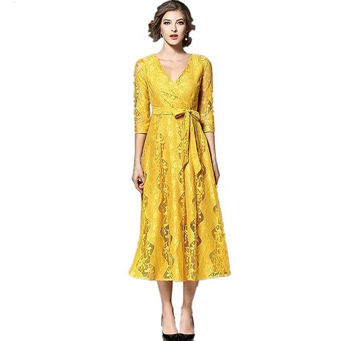 SONGQINGCHENG Última Moda Alta Calidad Blonda Amarilla La Pista De Verano Mujer Vestido con Cuello En