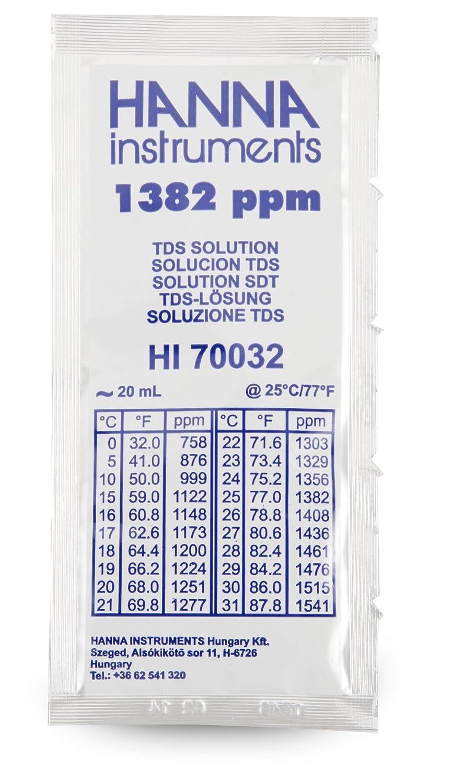 Hanna Instruments HI70032P 1382 mg/L (ppm) TDS Solution, 20mL Sachet