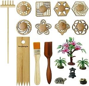 BangBangDa Zen Garden Stamps Rake Gifts - Patterns Sand Play Therapy Kit Meditation Tool Accessories Supplier Mini Office Tabletop Miniature Sandbox Father Mother Mon Dad Man Women Zen Gifts