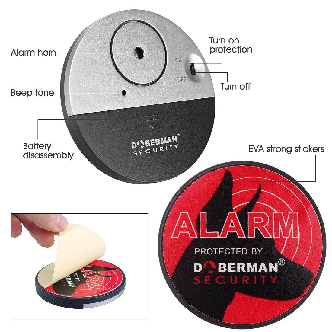 acrato Juego de 4 ventanas Alarma Mini de alarma de rotura de cristal inalámbrico con sensor de sacudidas, Security Alarma Sirena hasta 100 dB, ...