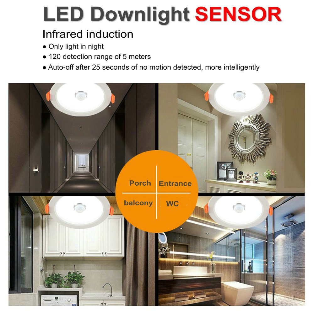 DPG Led Recessed Downlight Round Fixture Ceiling Lights with IR Infrared Induction Sensor Switch Cool White 9W 220v 110v for Human Body Indoor Hallway by DPG Lighting (Image #3)