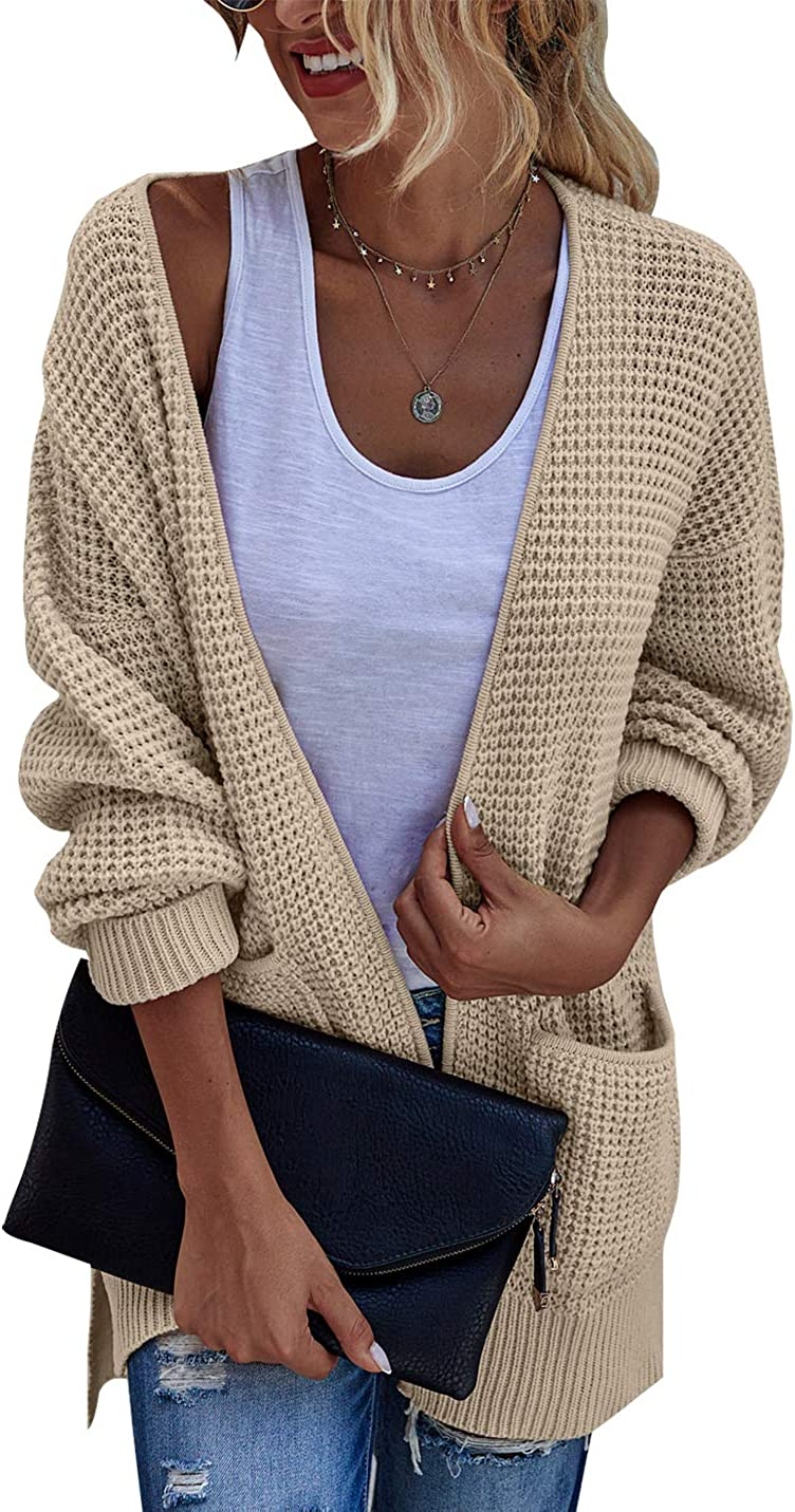 BTFBM Women Open Front Long Sleeve Casual Plain Knit Pockets Ribbed Hem Cuffs Side Slits Long Chunky Sweater Cardigan