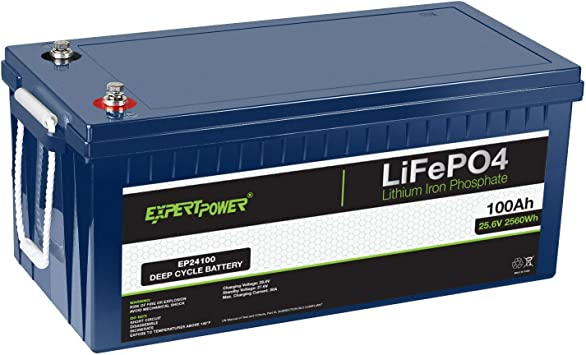Amazon.com: ExpertPower 24V 100Ah Lithium LiFePO4 Deep Cycle Rechargeable  Battery   2500-7000 Life Cycles & 10-Year lifetime   Built-in BMS    Trolling Motor, RV, Solar, Marine, Overland, Off-Grid: Automotive