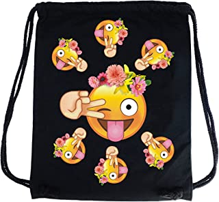 PREMYO Sac à dos cordon avec Emoji Smiley Langue Fleurs. Sac à cordon en coton noir avec impression Émoticône en couleur. Sac de gym sport imprimé. Sac à ficelles en tissu haut de gamme pour la route 1315