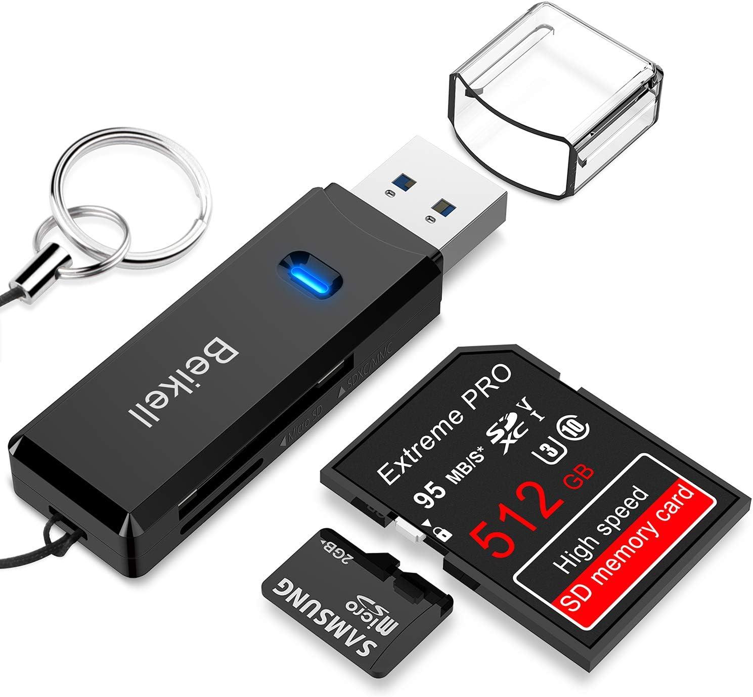 Beikell Lector de Tarjetas USB 3.0 de Memoria SD/Micro SD de Alta ...