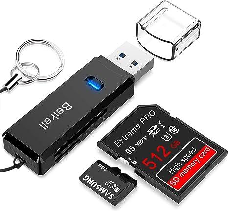 Beikell Lector de Tarjetas USB 3.0 de Memoria SD/Micro SD de Alta Velocidad con Llavero Portátil para TF, SDXC, SDHC ...