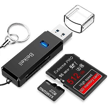 Beikell Lector Tarjetas de Memoria SD/Micro SD, Lector de ...