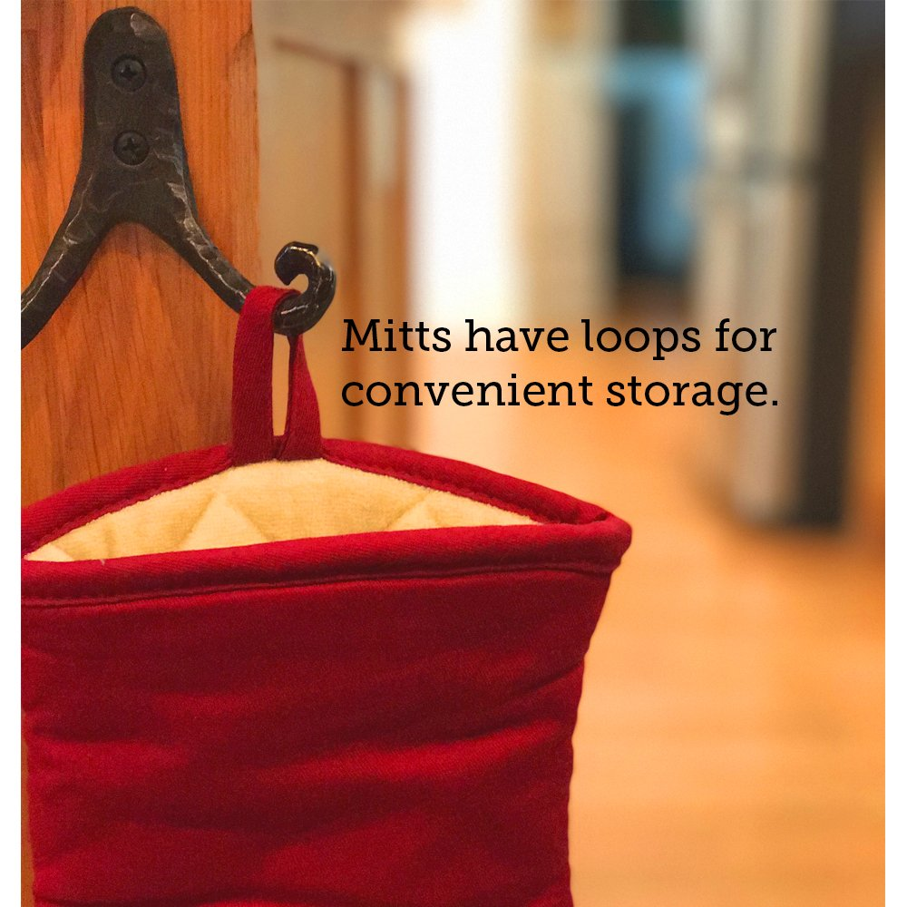 BIG RED HOUSE Oven Mitts, with the Heat Resistance of Silicone and Flexibility of Cotton, Recycled Cotton Infill, Terrycloth Lining, 480 F Heat Resistant Pair by BIG RED HOUSE (Image #6)