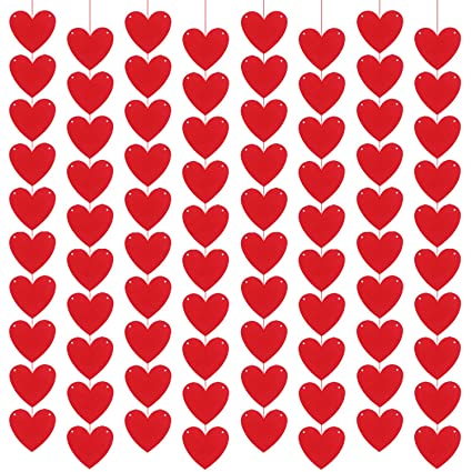 Amazon.com: Guirnalda de fieltro con 80 corazones, diseño de ...