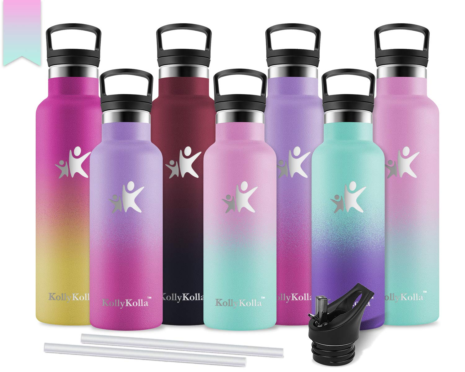 KollyKolla/ Stainless/ Steel/ Vacuum/ Insulated/ Water/ Bottle/ with/ Straw/ Lid-/ 12//17//20//25//32oz/ Metal/ Reusable/ Drinks/ Bottles,/ Hot/ /&/ Cold/ Leak/ Proof/ Thermoflask,/&