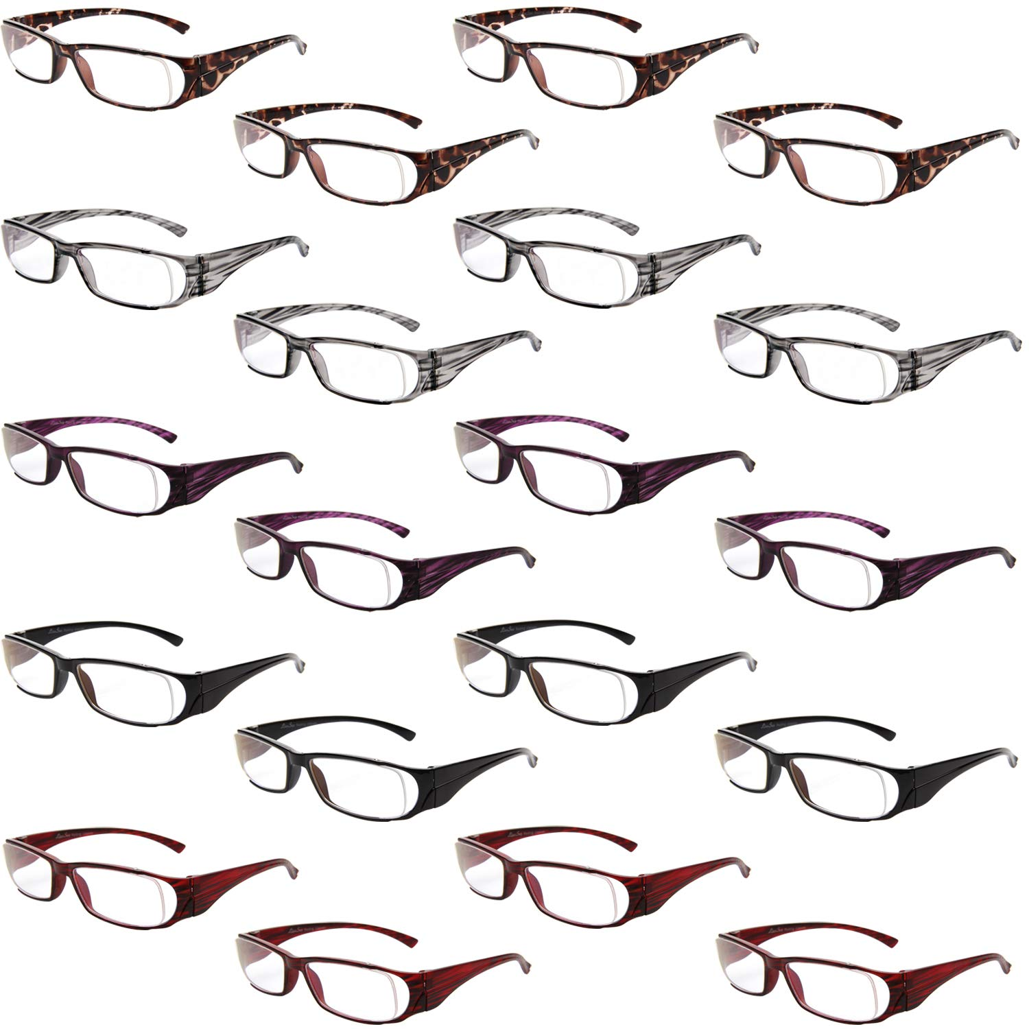 f13f216fc095 Amazon.com  LianSan Wholesale Lot Clear Vision 20 Pack Readers Unisex Reading  Glasses  Clothing