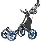 CaddyTek 4 Wheel Golf Push Cart - Caddycruiser One Version 8 1-Click Folding Trolley - Lightweight, Compact Pull Caddy Cart,