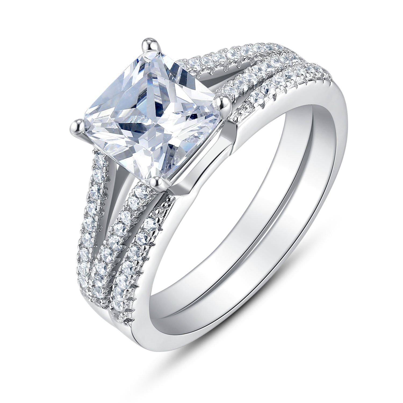 BL Jewelry Sterling Silver Split Shank Princess Cut Cubic Zirconia Bridal Engagement Wedding Ring Set (6.5)