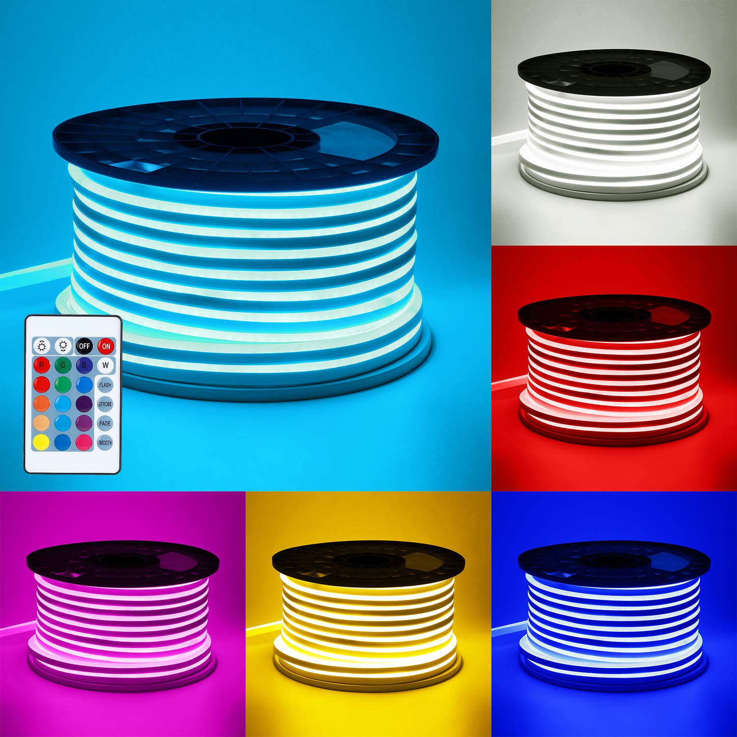 TORCHSTAR 65.6ft RGB LED Neon Rope Light, 18 LEDs/ft, Waterproof DIY Strip Light, All Necessary Accessories Included, Indoor Outdoor Decorative Lighting for Home, Patio, Garden