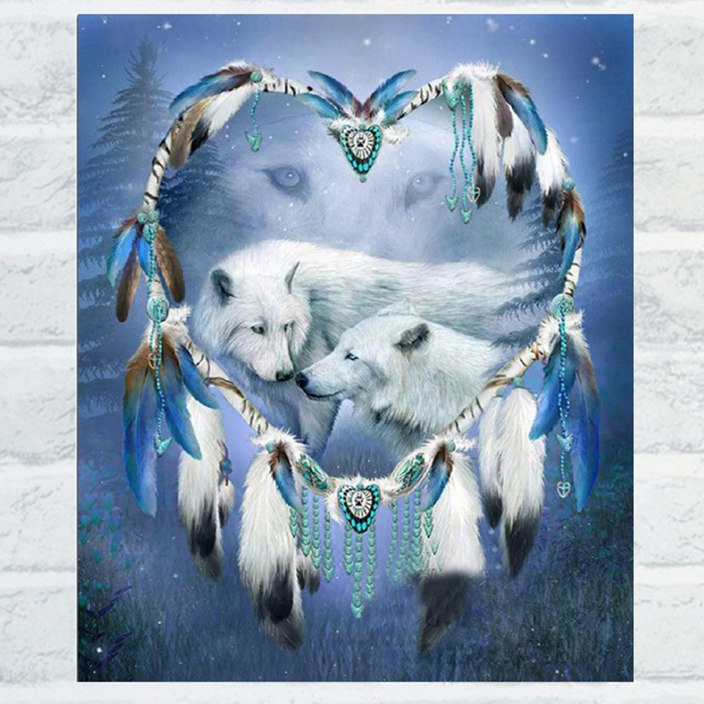 dds5391 White Wolf Love Shiny Resin Diamond Painting Kit DIY Handmade Home Wall Decor