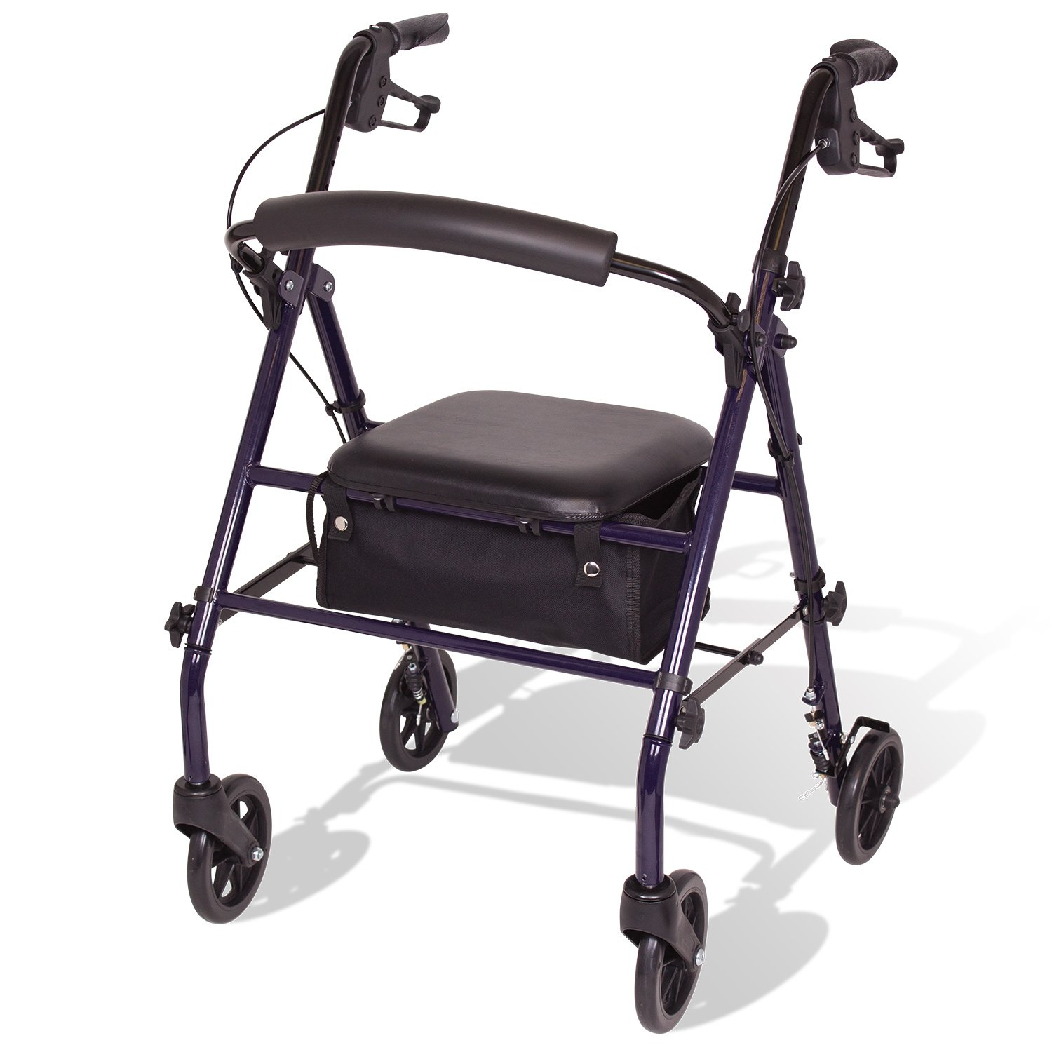 Carex Steel Rollator Walker with Seat and Wheels - Rolling Walker for Seniors - Walker Supports 350lbs, Foldable, For Those 5'0'' to 6'1'' by Carex