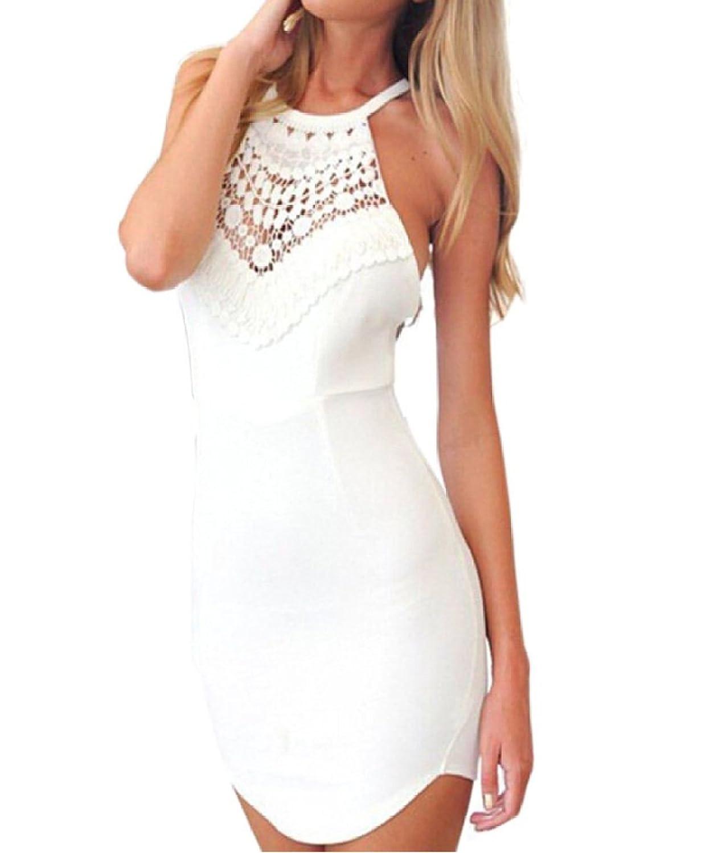 Reizvolle Frauen nehmen Sommer Spitz Gallus Kreuz ärmellos Rückenfrei Kleid Festkleid Cocktailkleid Abendkleider Partykleid Abschlusskleid Etuikleider