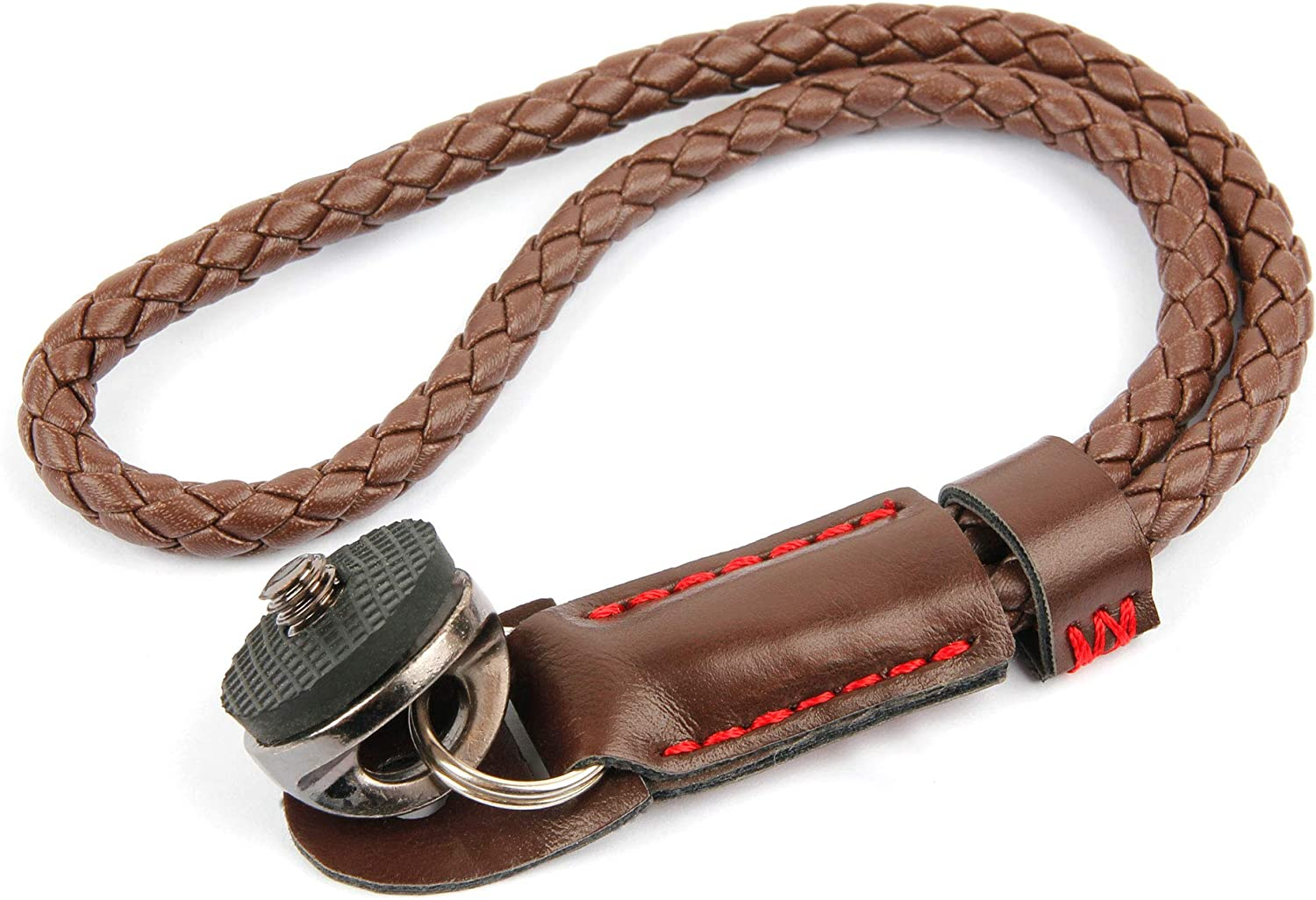 Compatible with Panasonic Lumix DMC-FS35 /& Lumix DMC-FS37 Digital Cameras DURAGADGET Brown PU Leather Secure Adjustable Wrist Strap